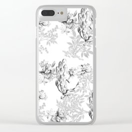PEACOCK LILY TREE AND LEAF TOILE GRAY AND WHITE PATTERN Clear iPhone Case