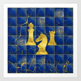 Lapis Lazuli Chessboard and Gold Chess Pieces Art Print