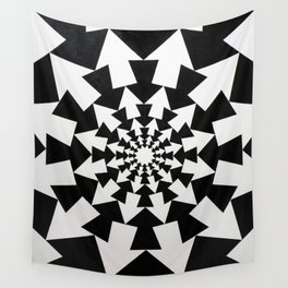 Radial Arrow Design(Black and White) Wall Tapestry