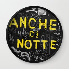 Black and White Yellow Bologna Street Photography Wall Clock