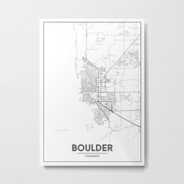 Minimal City Maps - Map Of Boulder, Colorado, United States Metal Print