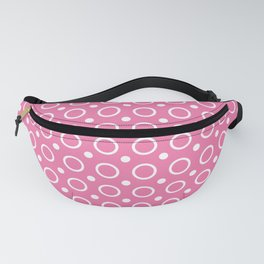 Candy pink and white circles and small polka dots pattern Fanny Pack