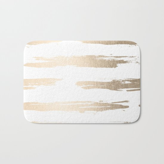 Simply Brushed Stripe White Gold Sands on White Bath Mat