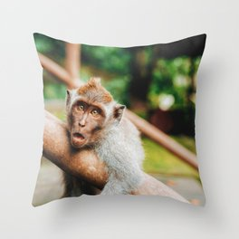 Cute Monkey (Color) Throw Pillow