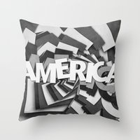 america Throw Pillows featuring America by politics