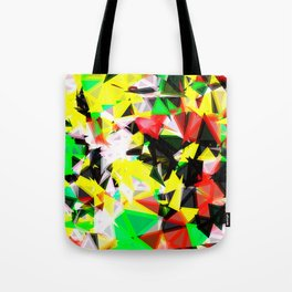 psychedelic geometric abstract pattern in green red yellow black Tote Bag
