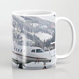Private Jet & Snowy Mountains Coffee Mug