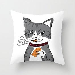 Cool Smoking Taiyaki Cat Throw Pillow