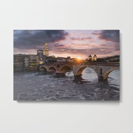 Sunset over Ponte Pietra Metal Print