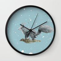 squirrel Wall Clocks featuring SQuirrel by Monika Strigel