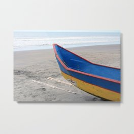 Blue and  Yellow Fishing Boat on a Beach Metal Print