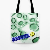 brasil Tote Bags featuring Soccer Brasil by LoRo  Art & Pictures