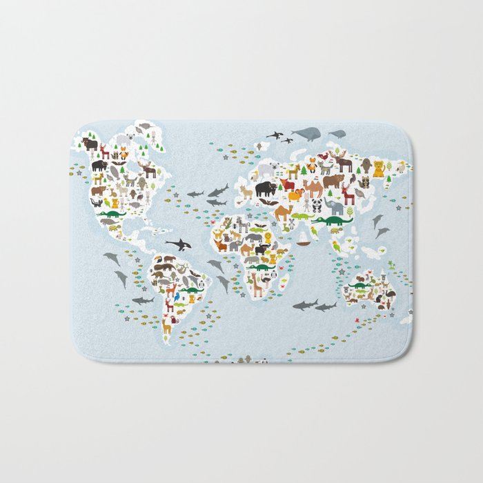 Cartoon animal world map for children and kids, Animals from all over the world Badematte