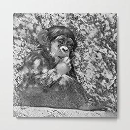 AnimalArtBW_Chimpanzee_20170605_by_JAMColorsSpecial Metal Print