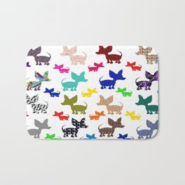 colorful chihuahuas on parade  Bath Mat