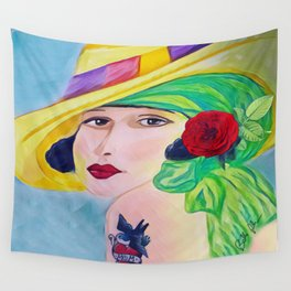 Lady With The Yellow Hat Wall Tapestry
