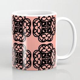 Black Doilies (Design 2) w/ a Coral Background Coffee Mug
