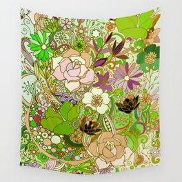 Detailed summer floral pattern, green Wall Tapestry
