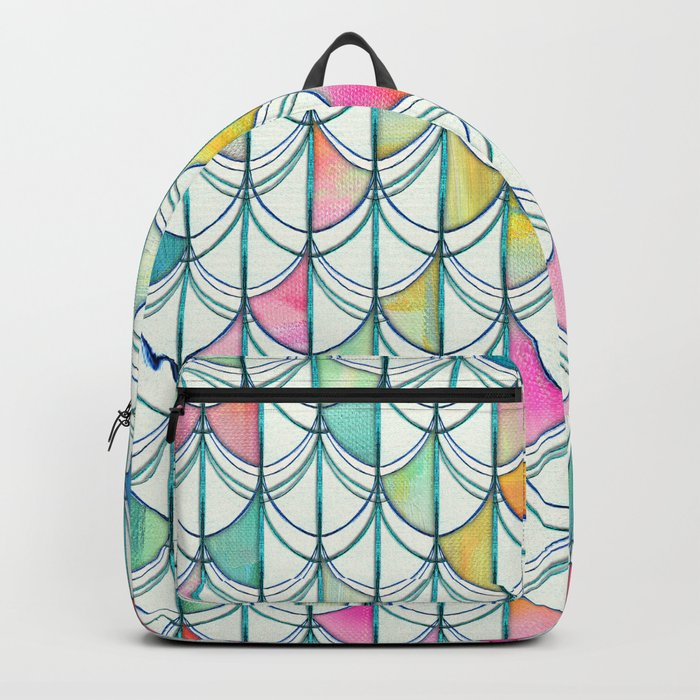 Pencil & Paint Fish Scale Cutout Pattern - white, teal, yellow & pink Backpack