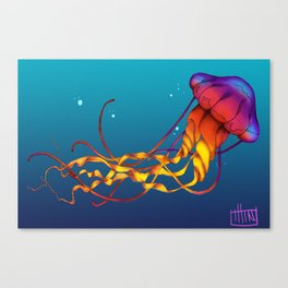 Jellyfish Red Canvas Print