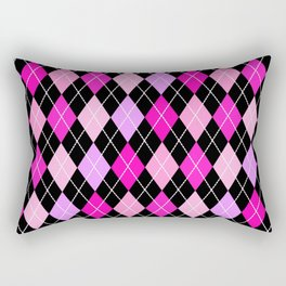 Pink Lavender Black Argyle Rectangular Pillow