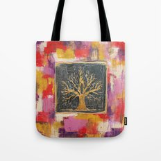 Autumn Window - Bronze Tree Painting Tote Bag