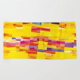 yellow pixel storm Beach Towel