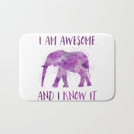 Awesome Watercolor Elephant Bath Mat