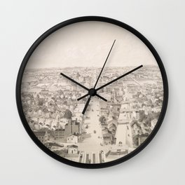 Vintage Pictorial Map of Rochester NY (1854) Wall Clock