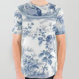 Powder Blue Chinoiserie Toile All Over Graphic Tee