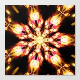Golden Fire Snowflake Canvas Print