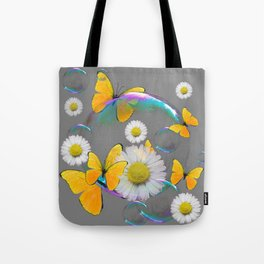 YELLOW BUTTERFLIES  DAISIES & SOAP BUBBLES GREY COLOR Tote Bag