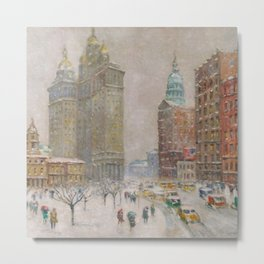 City Hall Park, The New York Scene, NYC skyline winter landscape painting by Guy Carleton Wiggins Metal Print