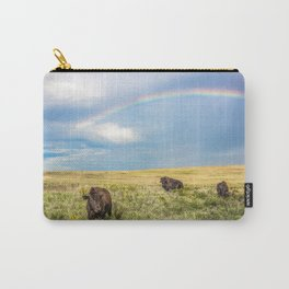 Rainbows and Bison - Buffalo on the Tallgrass Prairies of Oklahoma Carry-All Pouch