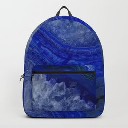 deep blue agate with peach background Backpack