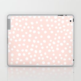 Pink and white doodle dots Laptop & iPad Skin