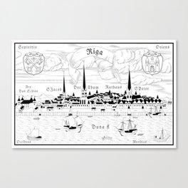 Riga 1544 (black on white) Canvas Print