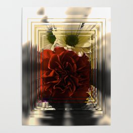 Carnation And Daisies In Glass Display Poster