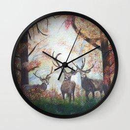 Morning Deer Border Wall Clock