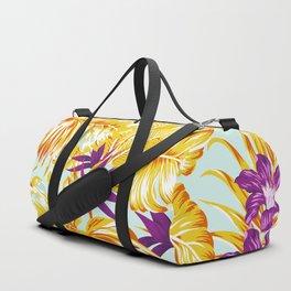 Gold Tropical Leaves Floral Pattern Multicoloured Bohemian Décor Duffle Bag