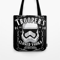 vodka Tote Bags featuring Trooper's cloned vodka by BomDesignz