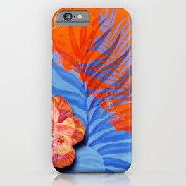 orange blue toned tropical flowers and leaves on marble abstract background iPhone Case