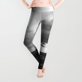 A Dreamer's Journey - Railroad Tracks and Storm in Black and White Leggings