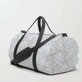 Rose Gold Glitter Line Art On Teal Duffle Bag