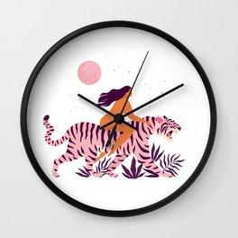Tiger and woman Wall Clock