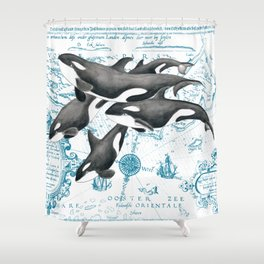 Orca Whales Family Blue Vintage Map Shower Curtain