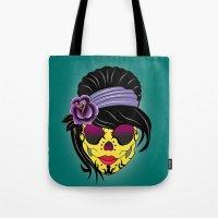 sugar skull Tote Bags featuring SUGAR SKULL by mark ashkenazi