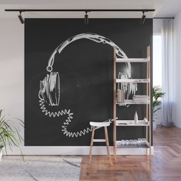 Retro headphones with cable Wall Mural