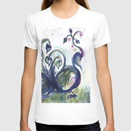 Pink Hearted Peacock watercolor by CheyAnne Sexton T-shirt