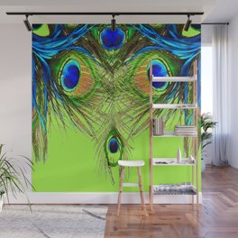CHARTREUSE BLUE-GREEN PEACOCK FEATHERS ART PATTERNS Wall Mural